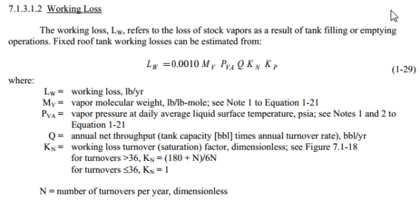 Working loss calculation for Tank EHS Management