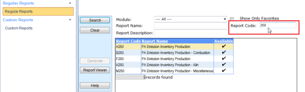 Report Code Filtering