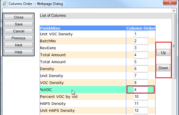 Column Reordering