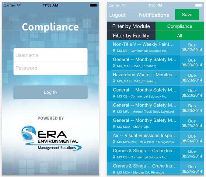 ERA Compliance App Screenshots