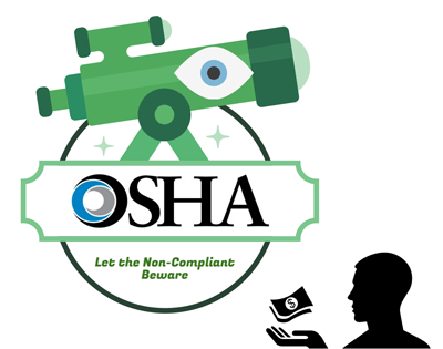An abstract depiction of OSHA enforcing compliance and penalties.