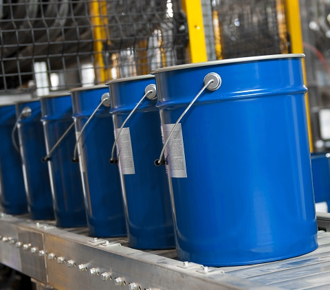 Secondary Container Labels on paint cans for GHS Compliance Management.