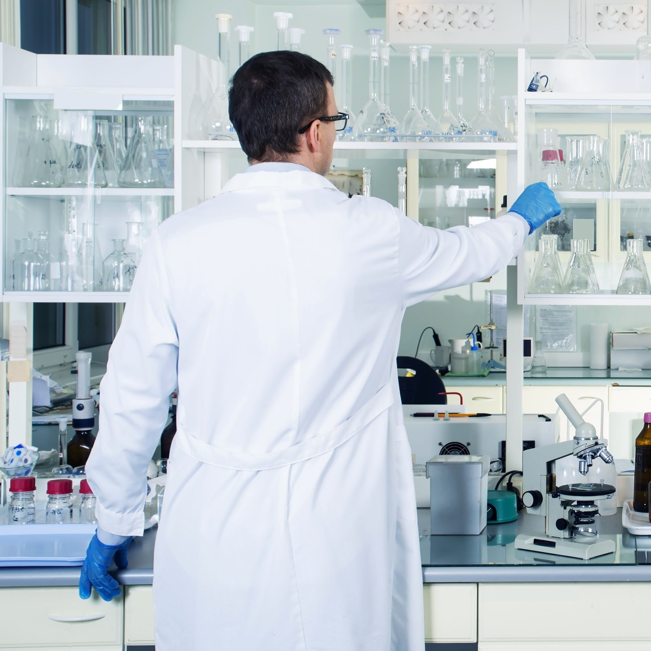 Chemist working with hazardous chemical products
