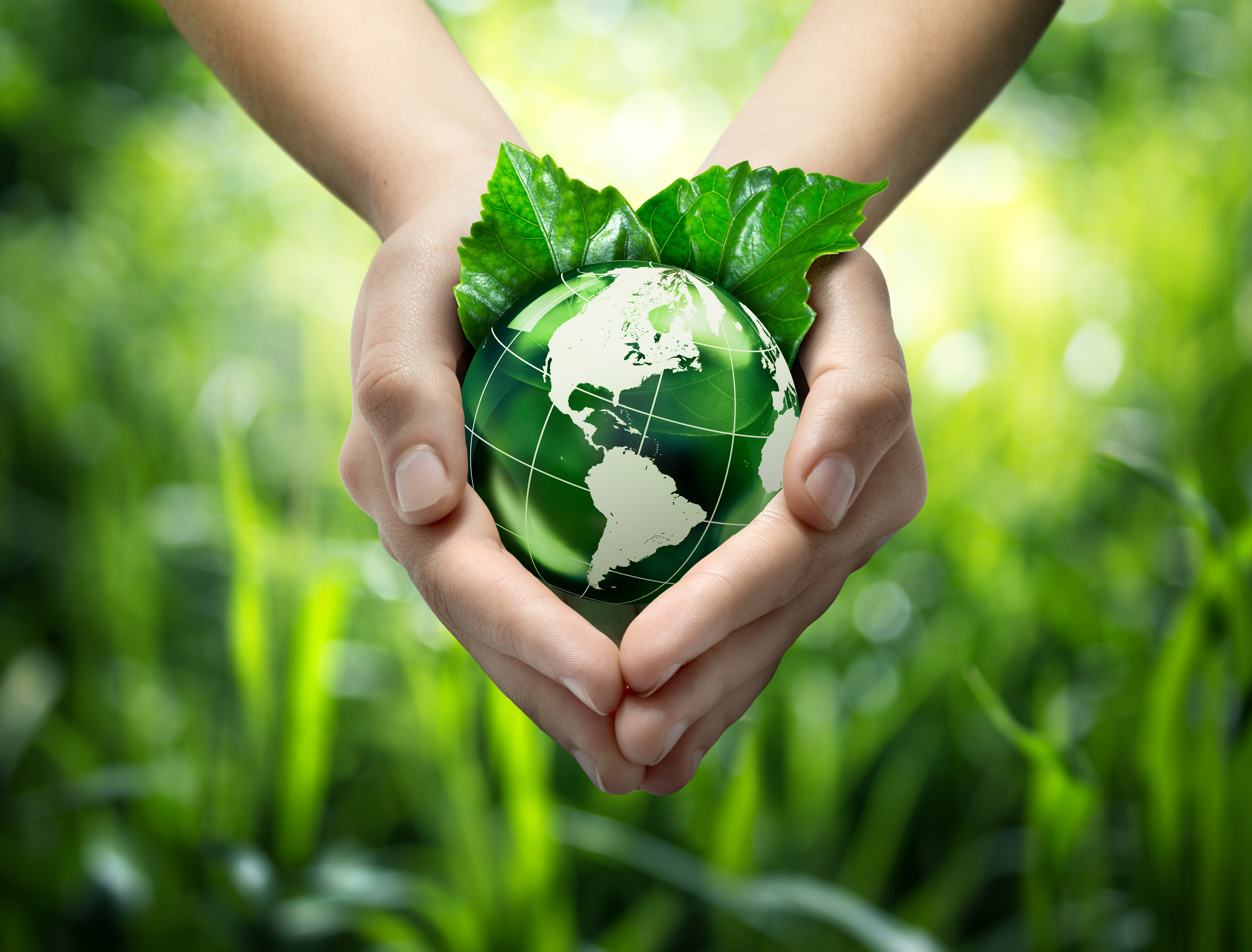 Sustainability image with planet earth in hands