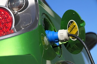 An EV recharges its lithium-ion battery.